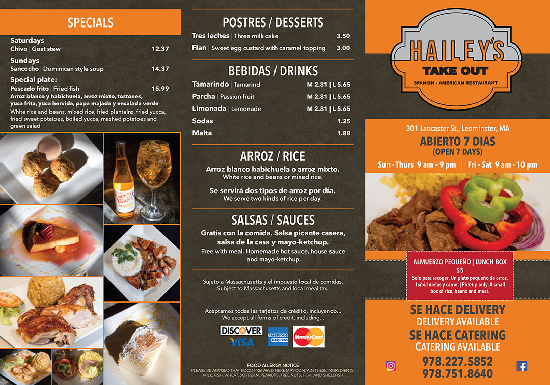 Restaurant menu designed for Hailey's Take Out by Sitka Creations