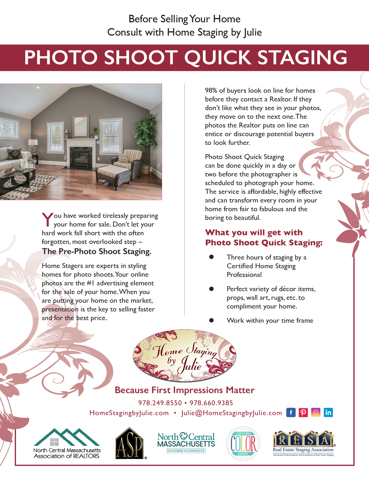 Consultation flyer designed for Home Staging By Julie by Sitka Creations.