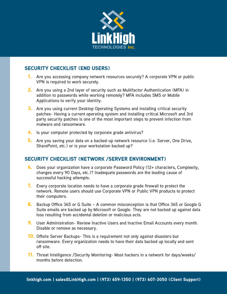 1-sheet document designed for LinkHigh Technologies, Inc by Sitka Creations.
