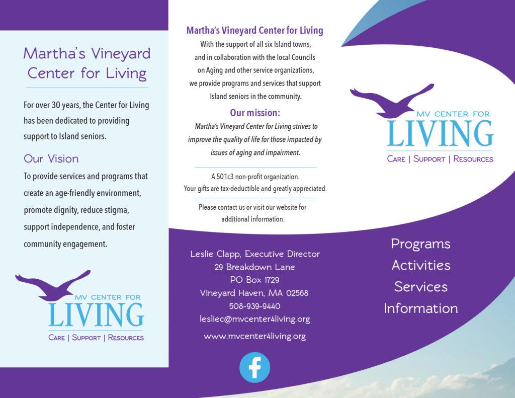 Brochure designed for Martha's Vineyard Center for Living by Sitka Creations
