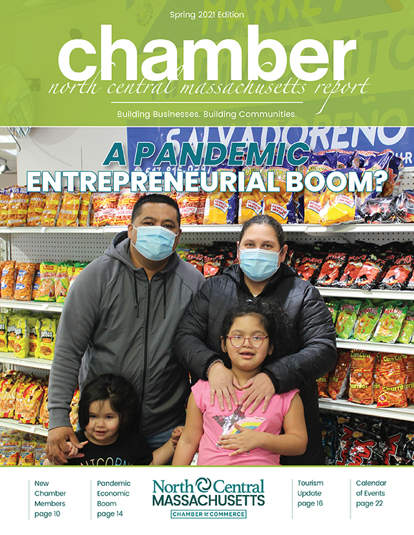 Cover design for the North Central Chamber of Commerce Spring 2021 Report.