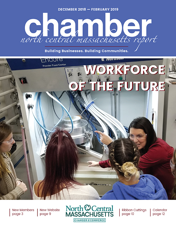 Cover design for the North Central Chamber of Commerce Winter 2019 Report