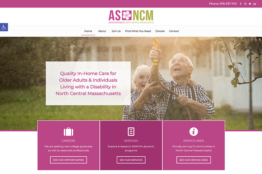 Website design for Aging Services of North Central Massachusetts. Designed by Sitka Creations.