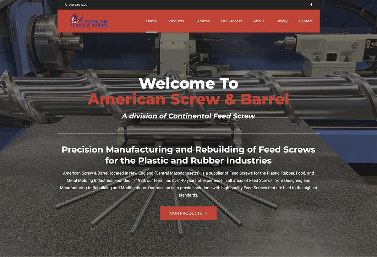 Website design for American Screw & Barrel. Designed by Sitka Creations.