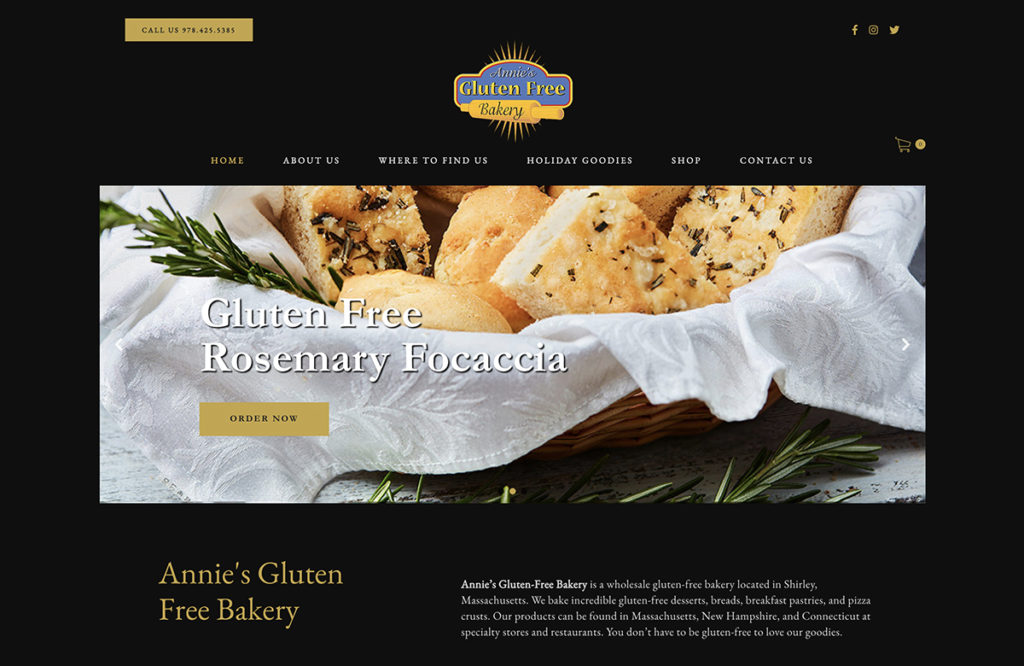 Website design for Annie's Gluten Free Bakery. Designed by Sitka Creations.