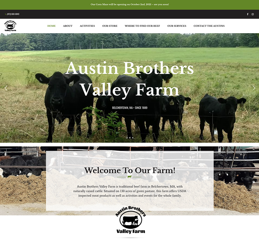 Website design for Austin Brothers Valley Farm. Designed by Sitka Creations.