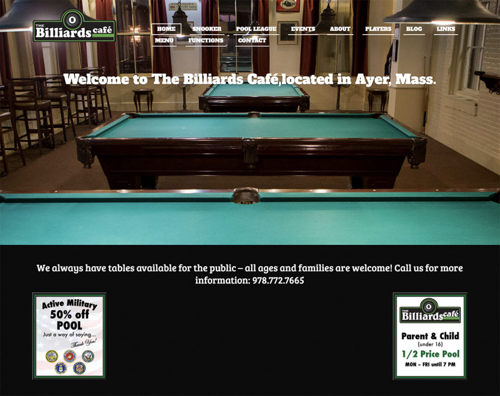 Website design for The Billiards Cafe. Designed by Sitka Creations.