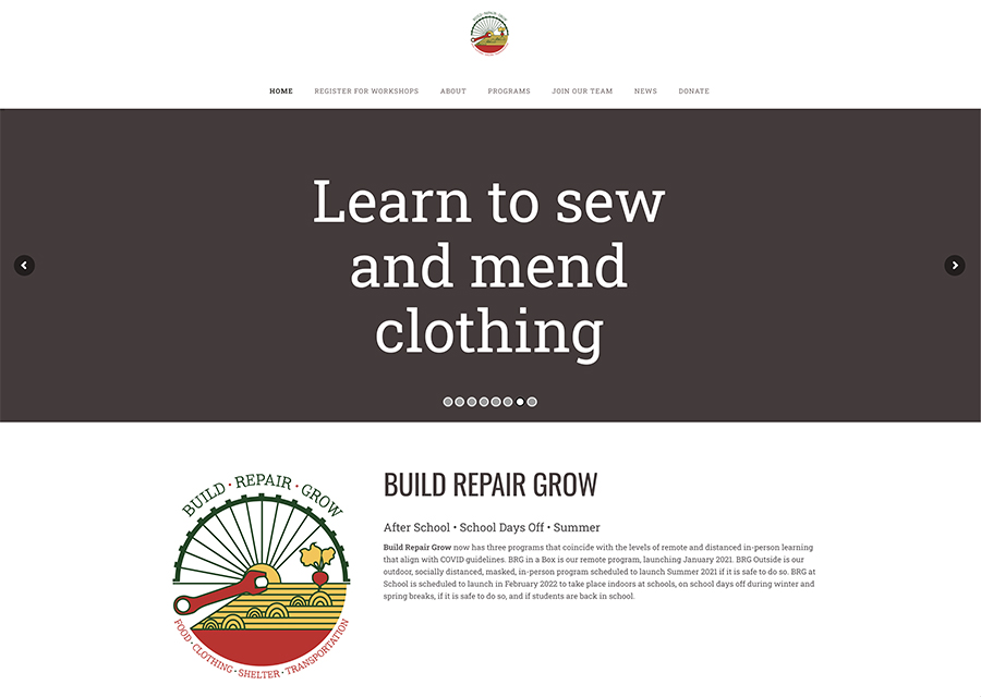 Website design for Build Repair Grow. Designed by Sitka Creations.