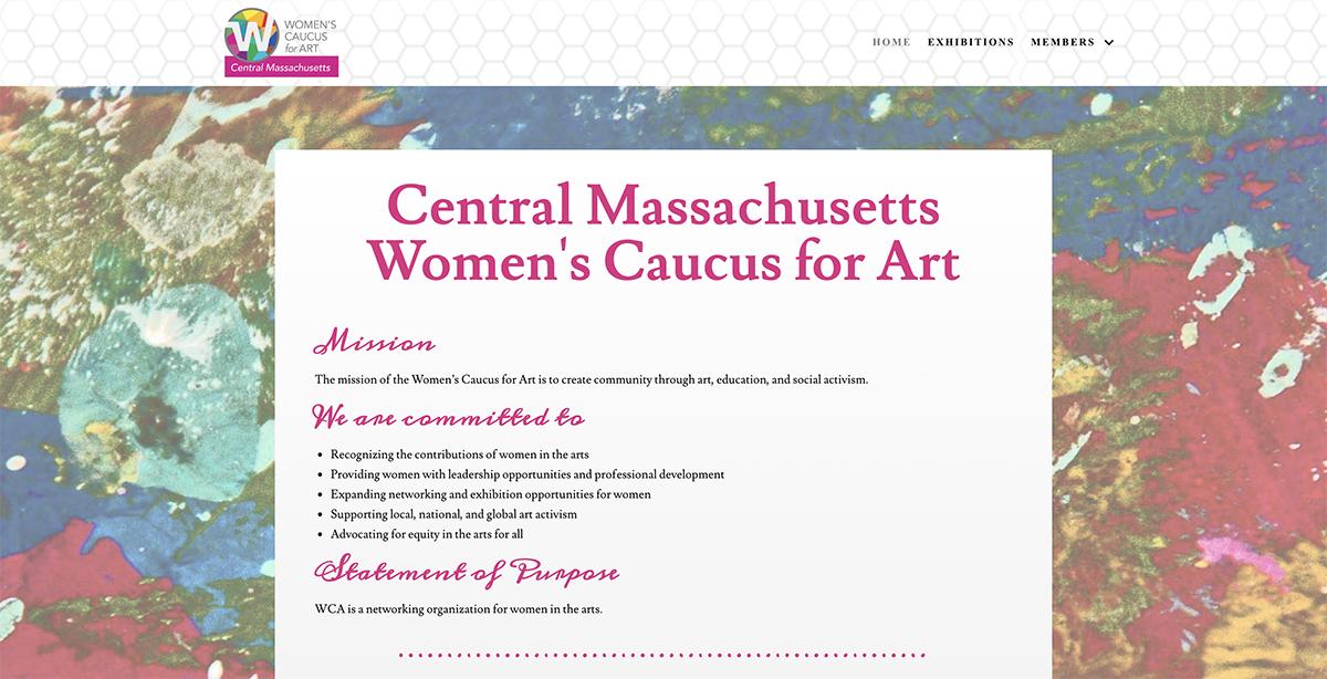Website design for Central Massachusetts Women's Caucus for Art. Designed by Sitka Creations.