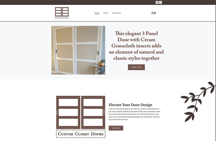 Website design for Custom Closet Doors. Designed by Sitka Creations.
