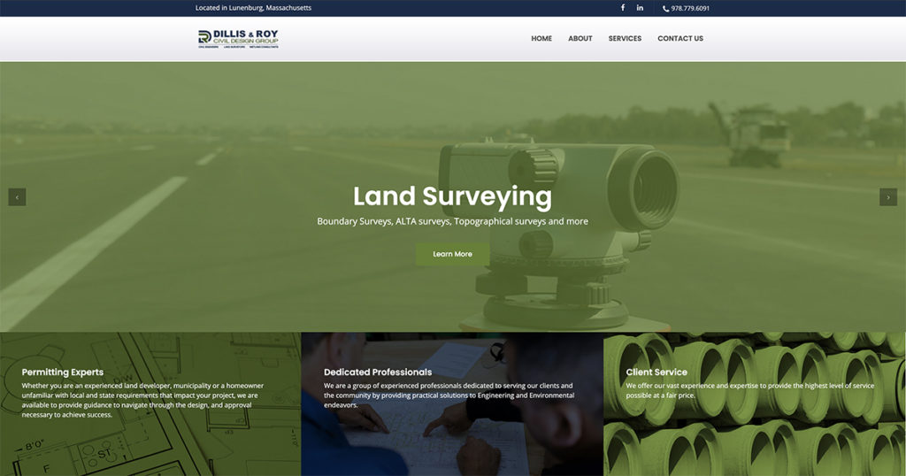 Website design for The Dillis & Roy. Designed by Sitka Creations.