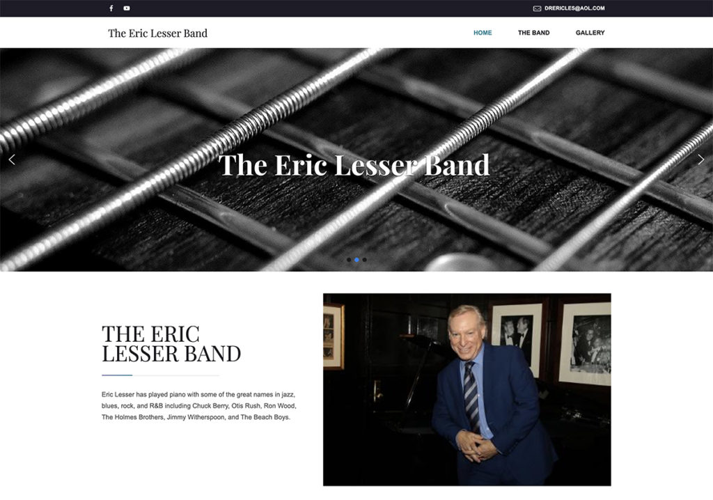 Website design for The Eric Lesser Band. Designed by Sitka Creations.