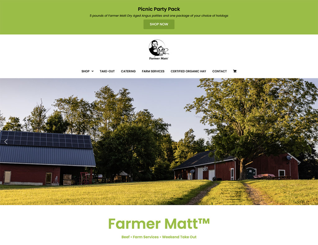 Website design for Farmer Matt. Designed by Sitka Creations.