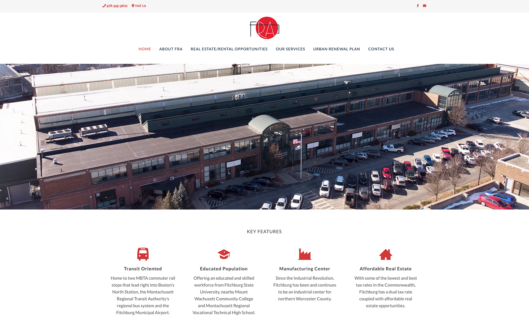 Website design for Fitchburg Redevelopment Authority. Designed by Sitka Creations.