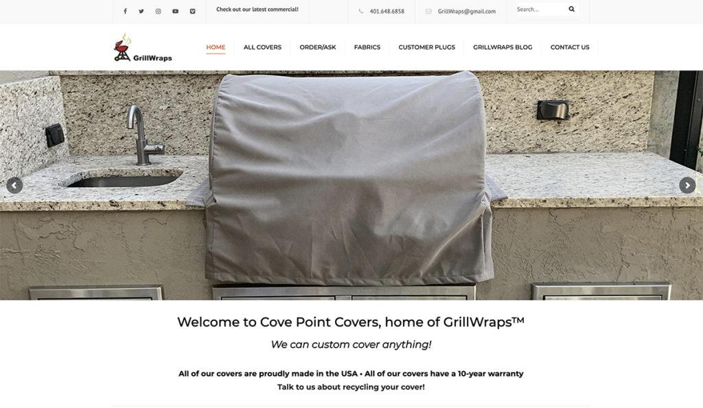 Website design for GrillWraps. Designed by Sitka Creations.