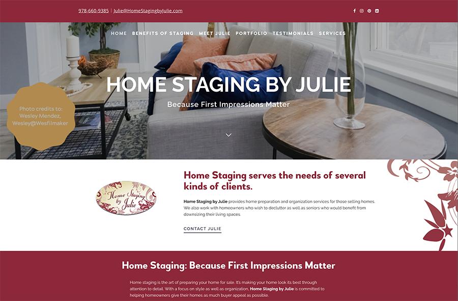 Website design for Homestaging by Julie. Designed by Sitka Creations.