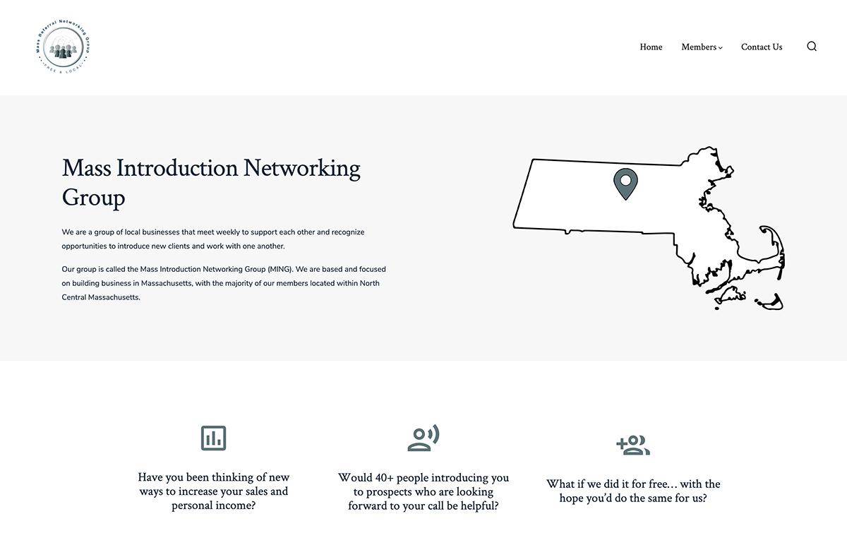 Website design for Mass Introduction Networking Group. Designed by Sitka Creations.