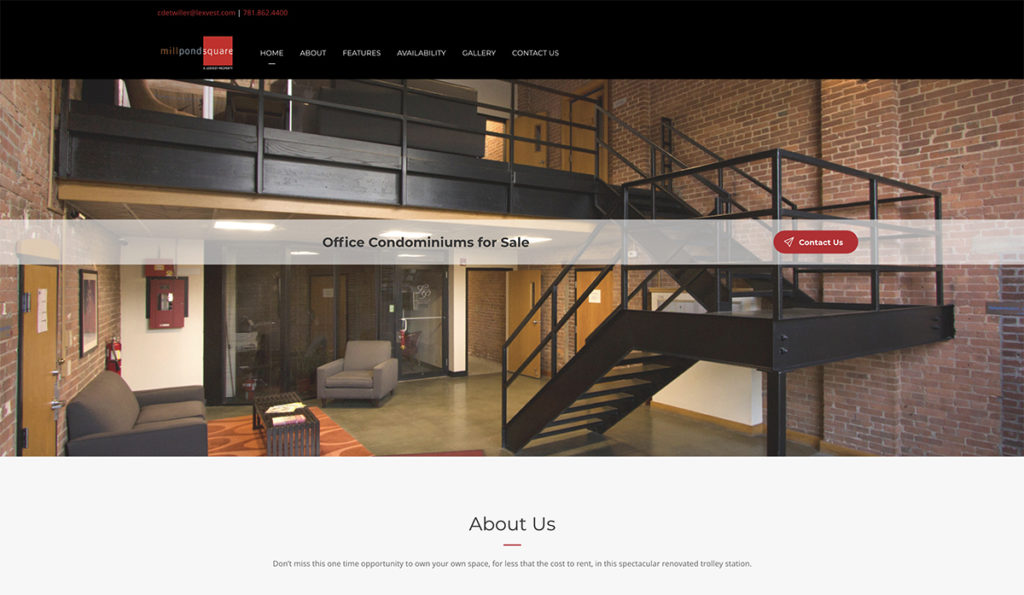 Website design forMill Pond Square. Designed by Sitka Creations.