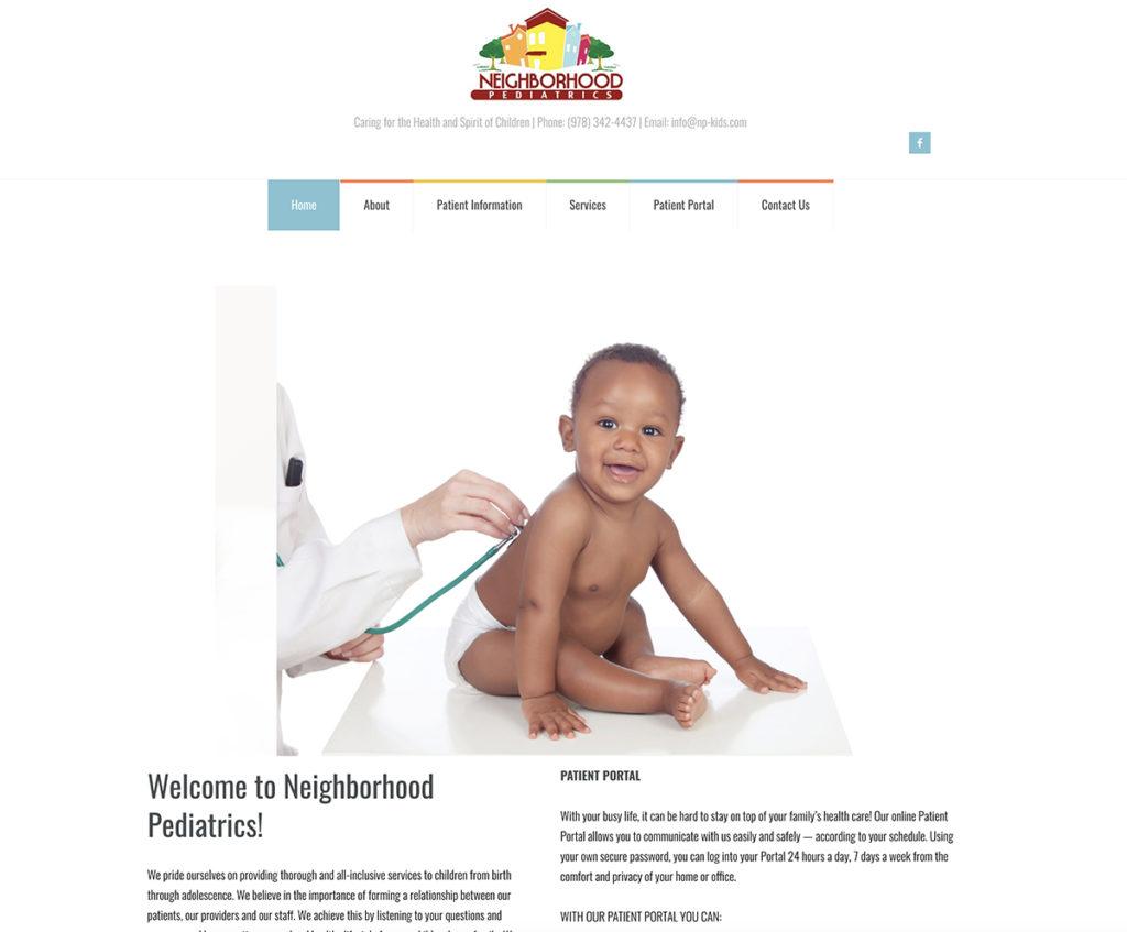 Website design for Neighborhood Pediatrics. Designed by Sitka Creations.