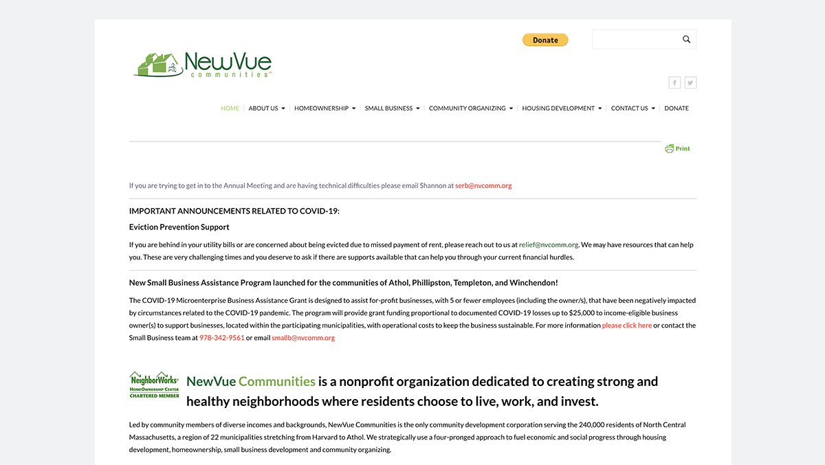 Website design for NewVue Communities. Designed by Sitka Creations.