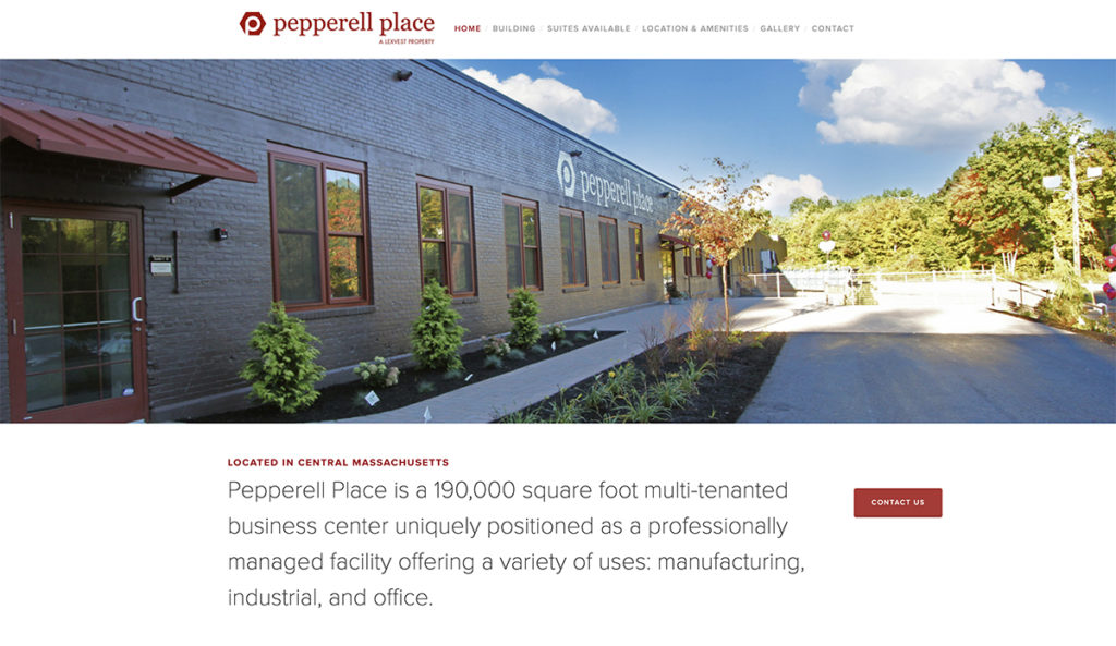 Website design for Pepperell Place. Designed by Sitka Creations.