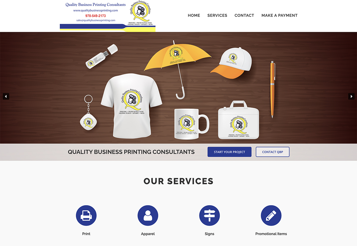 Website design for Quality Business Printing. Designed by Sitka Creations.