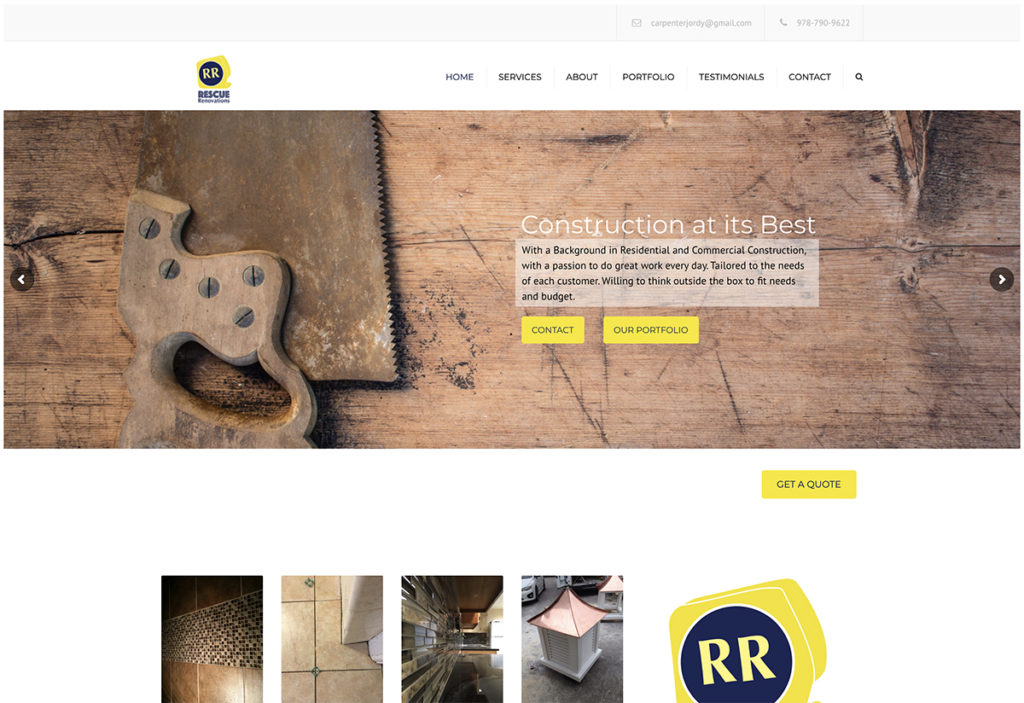 Website design for Rescue Renovation. Designed by Sitka Creations.