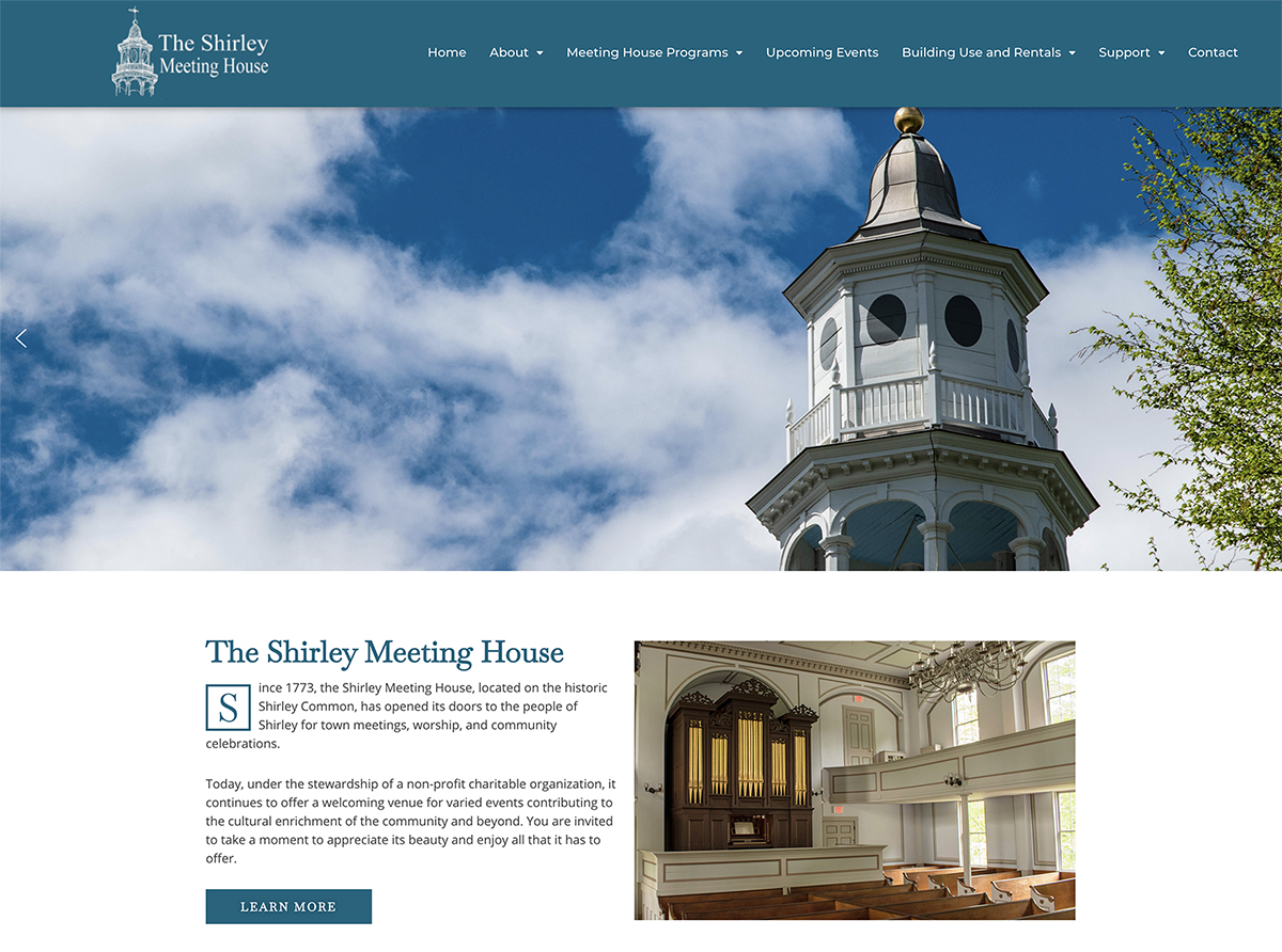 Website design for Shirley Meeting House. Designed by Sitka Creations.
