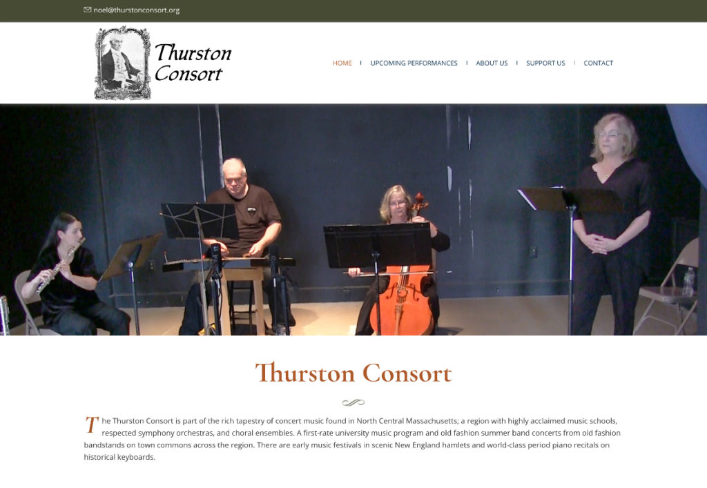 Website design for Thurston Consort. Designed by Sitka Creations.