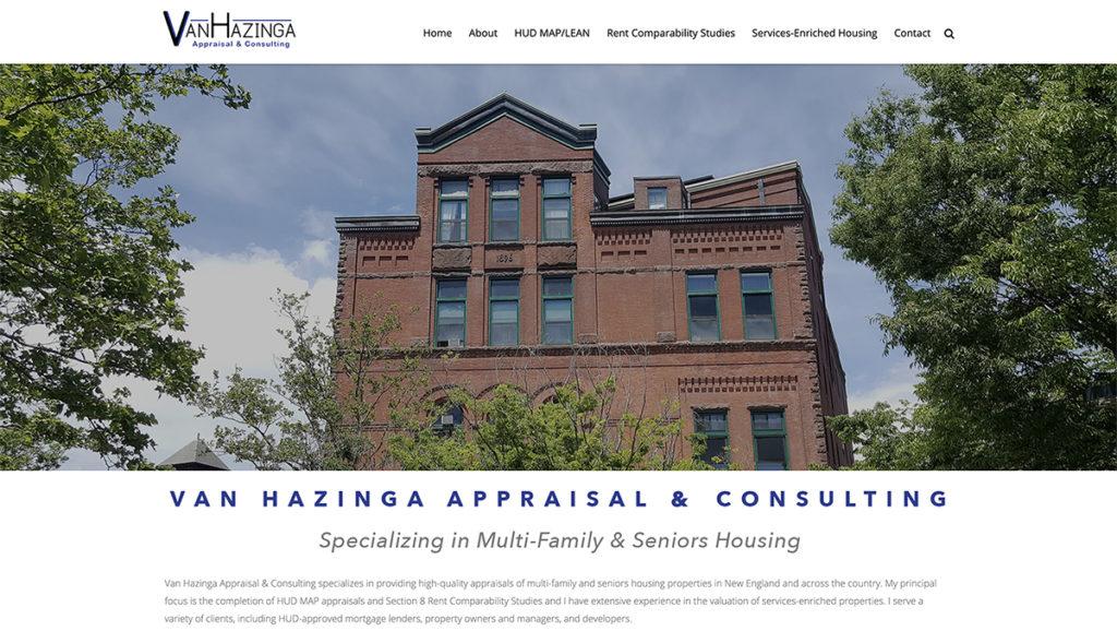Website design for VanHazinga Appraisal. Designed by Sitka Creations.