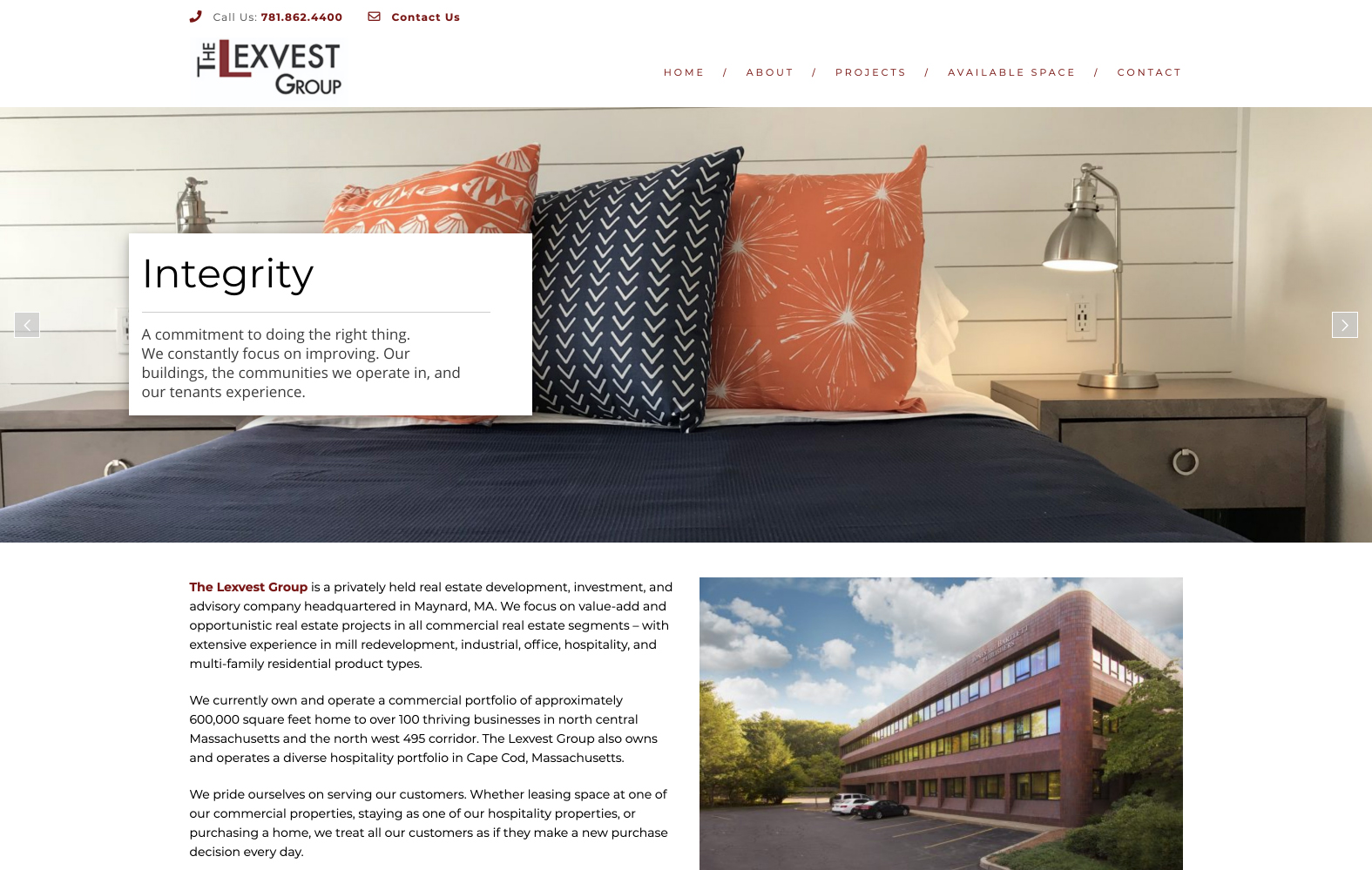 Website design for The Lexvest Group. Designed by Sitka Creations.