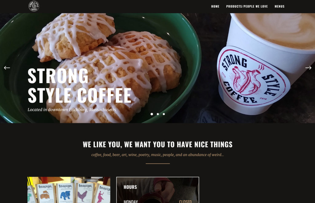 Website design for Strong Style Coffee. Designed by Sitka Creations.