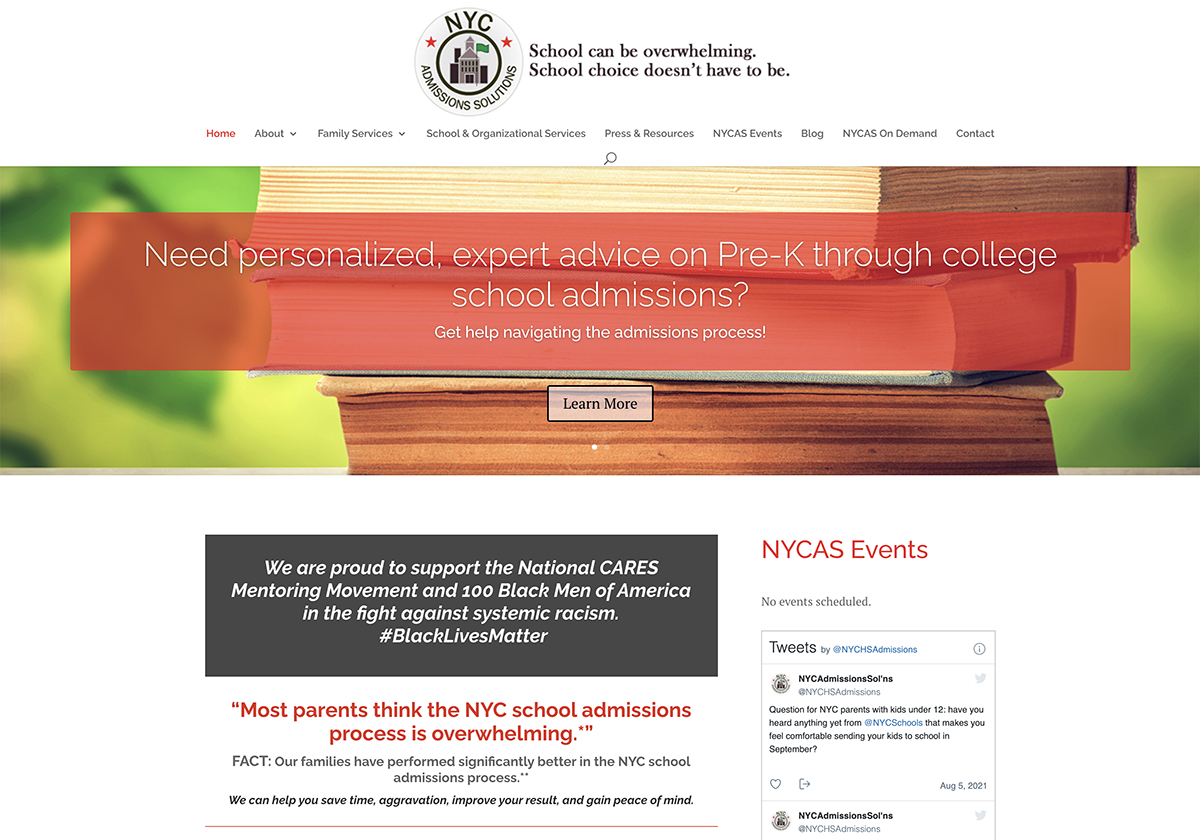 Website design for NYC Admissions Solutions. Designed by Sitka Creations.